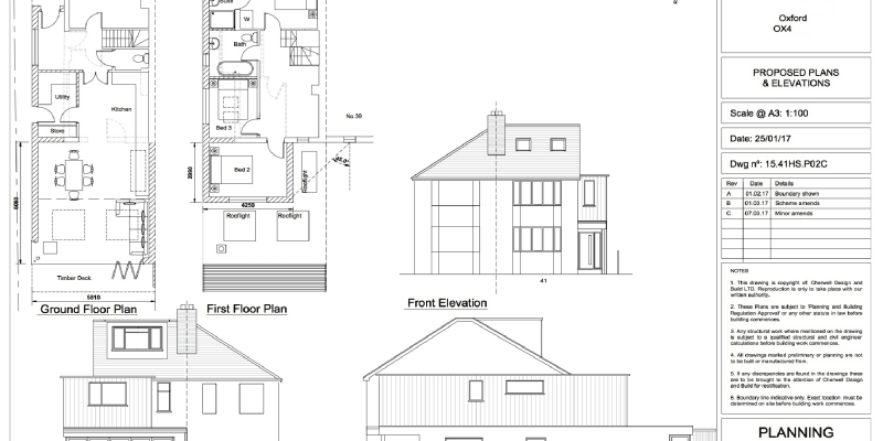 Proposed plans and elevations for a house extension and transformation to a 1930s semi-detached house in Oxford.
